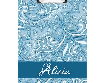 Blue Floral Personalized Clipboard- FREE SHIPPING!