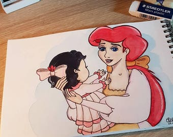 Watercolour mother and daughter