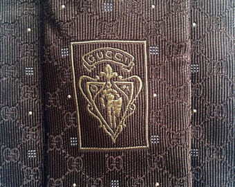 f63784177821c GUCCI GG TIE stunning heavy silk signature small gg monogram link point  theme all over design men luxury necktie on dark brown from italy
