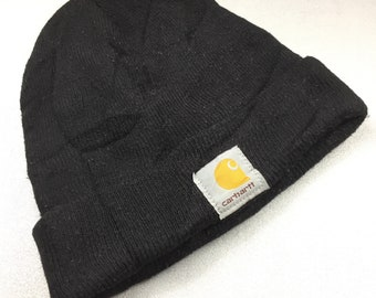 40c949a1a36 CARHATT SKI HAT beanie plain solid black color vintage 90s signature logo  snow cap acrylicmade in usa