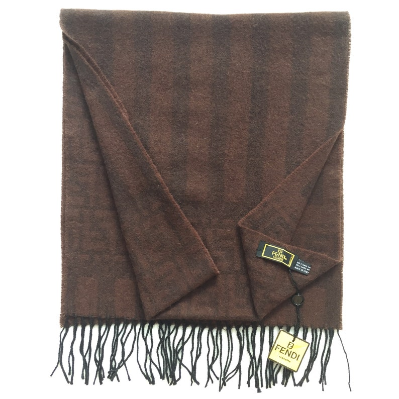 353381d6 FENDI ZUCCA SCARF 100% wool stunning design full over ff signature spell  out pattern beige dress long muffler style on dark brown italy