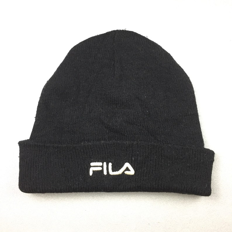 8296eb17a20 FILA HAT ski beanie plain solid black color vintage 90s