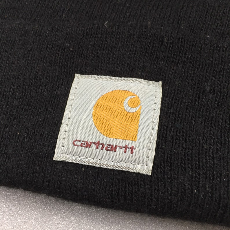 18e05bbf4e1 CARHATT SKI HAT beanie plain solid black color vintage 90s