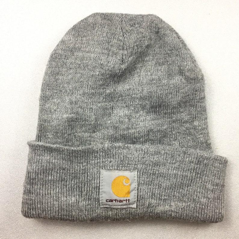 79ec55796e8 CARHATT SKI HAT beanie plain solid grey color vintage 90s