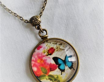illustrated Butterfly cabochon necklace