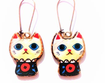 colorful cats multicolor earrings