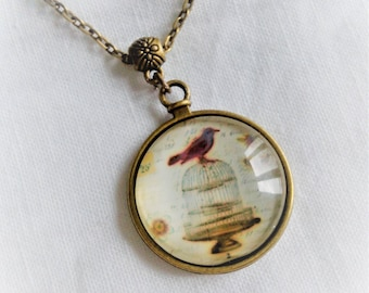 cabochon pictured bird cage necklace