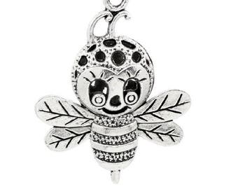 Bee - Charm charm pendant silver - 37 x 29 mm's