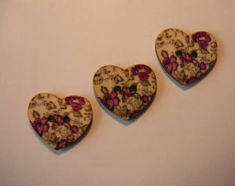 Set of 3 assorted wood, new - heart shaped buttons 23 mm / 10 more