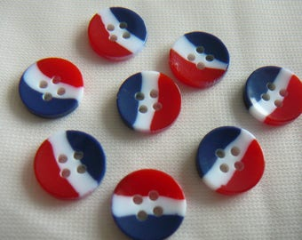 SET of lights buttons Navy / white / orange - new 8, 4 holes