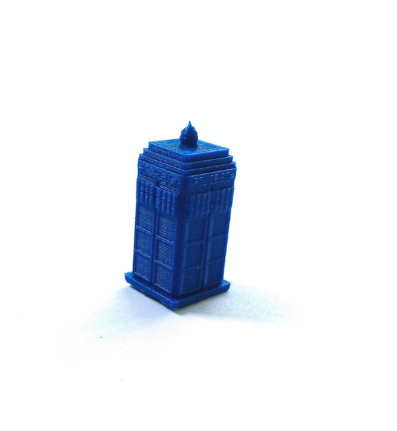 Custom Miniature Police Box 3D Printed Office Desk Bookshelf