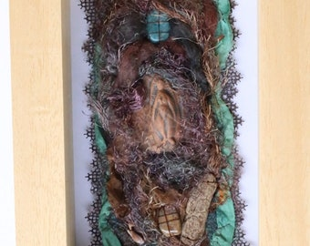 "Table textile art Talisman ""Matrix"" sacred feminine, silk, fiber silk, ceramic, amazonite, fossil wood"