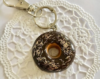 Donut polymer clay keychain