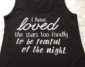 Ladies top, love the stars, tank top, poetic quote top