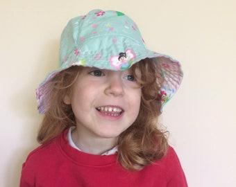 Reversible bucket hat, organic cotton sunhat, reversible sunhat, handmade summer hat, kids sun hat