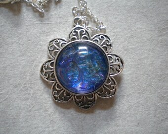 Hand painted blue flower necklace