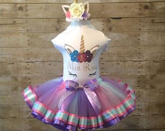 b0c8aced438 Personalized Unicorn Tutu Set