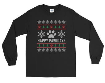 Happy Pawidays Ugly Christmas Sweater Design Long Sleeve T-Shirt
