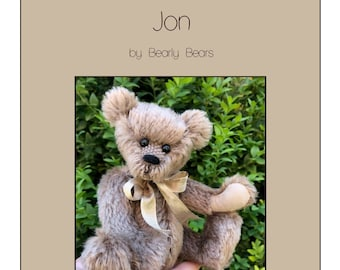 Jon pattern - PDF Instant download - 16cm artist teddy bear, create your own collectible