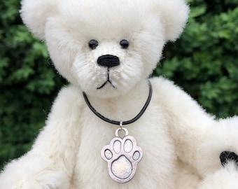Mishka - a handsewn collectible polar bear, alpaca fur, ultrasuede