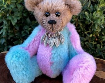 Jesse - a handsewn collectible jester teddy bear, alpaca and mohair