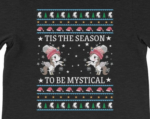 Tis The Season To Be Mystical Ugly Christmas Unicorn Shirt 2