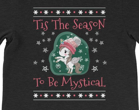 Tis The Season To Be Mystical Ugly Christmas Unicorn Shirt 1