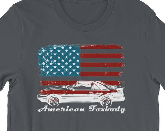 American Foxbody Muscle Car 5.0L Car Enthusiast Flag Short-Sleeve Unisex T-Shirt
