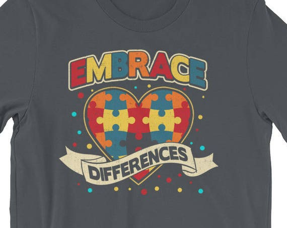 Embrace Differences Autism Awareness Shirt Short-Sleeve Unisex T-Shirt