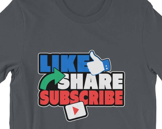 Social Media Like Share Subscribe Short-Sleeve Unisex T-Shirt