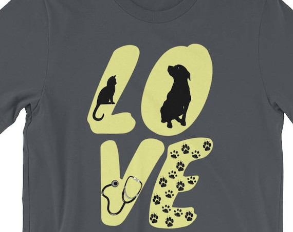 Vet Tech Love Animals Veterinarian Technician Short-Sleeve Unisex T-Shirt