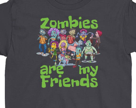 Zombies Are My Friends Halloween Youth Child Short Sleeve T-Shirt Novelty