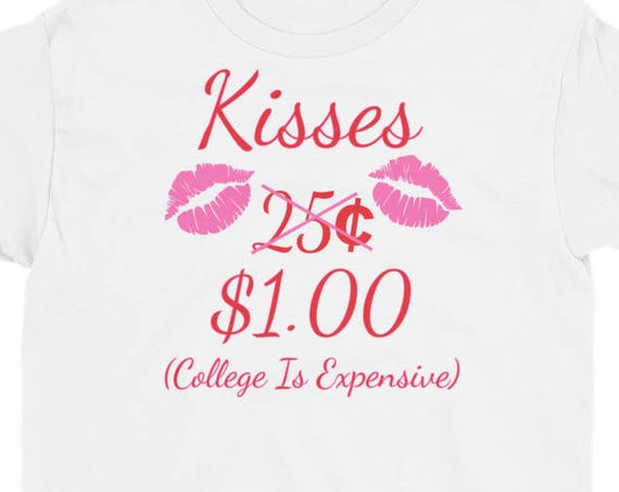 Kisses 25 Cents - Funny Boys & Girls Valentines Day Youth Short Sleeve T-Shirt