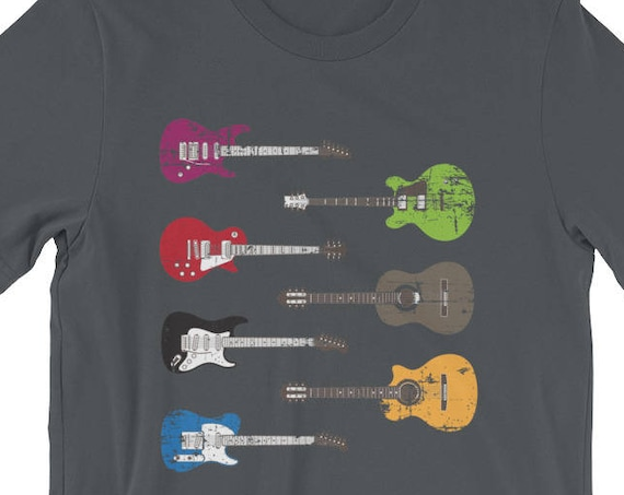 Vintage Acoustic & Electric Guitars Distressed Short-Sleeve Unisex T-Shirt