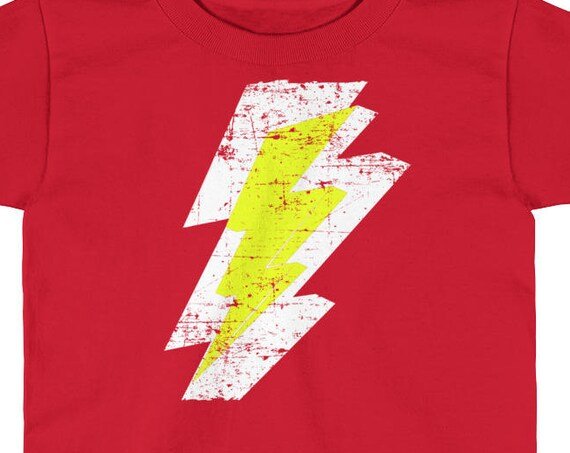 Lightning Bolt Distressed Tshirt White Yellow Graphic Print Kids Short Sleeve T-Shirt