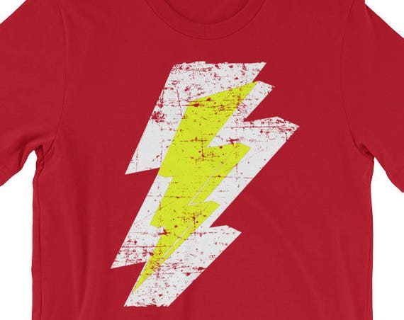 Lightning Bolt Distressed Tshirt White Yellow Graphic Print Short-Sleeve Unisex T-Shirt