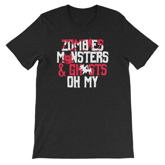 Zombies Monsters and Ghosts Oh My Spooky Cute Halloween Uni Sex T Shirt 6