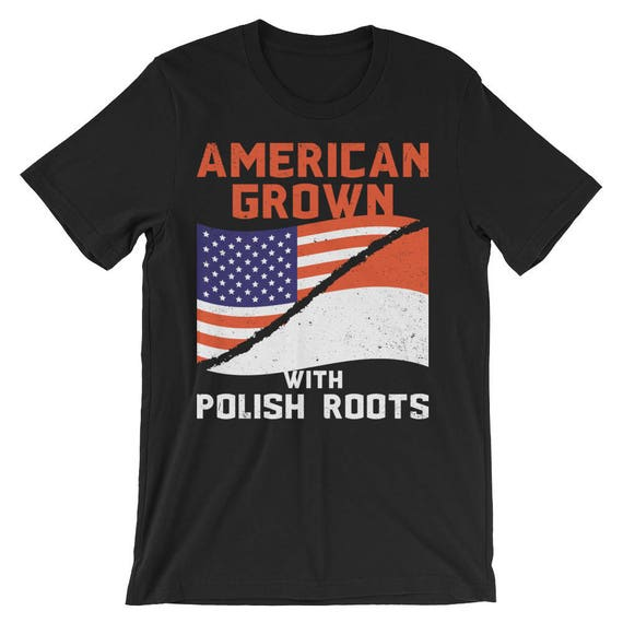 American Grown With Polish Roots American Pride Flag Short-Sleeve Unisex T-Shirt