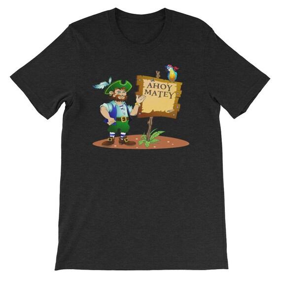Ahoy Matey Hello Cartoon Pirate Day Halloween Uni Sex T Shirt 1
