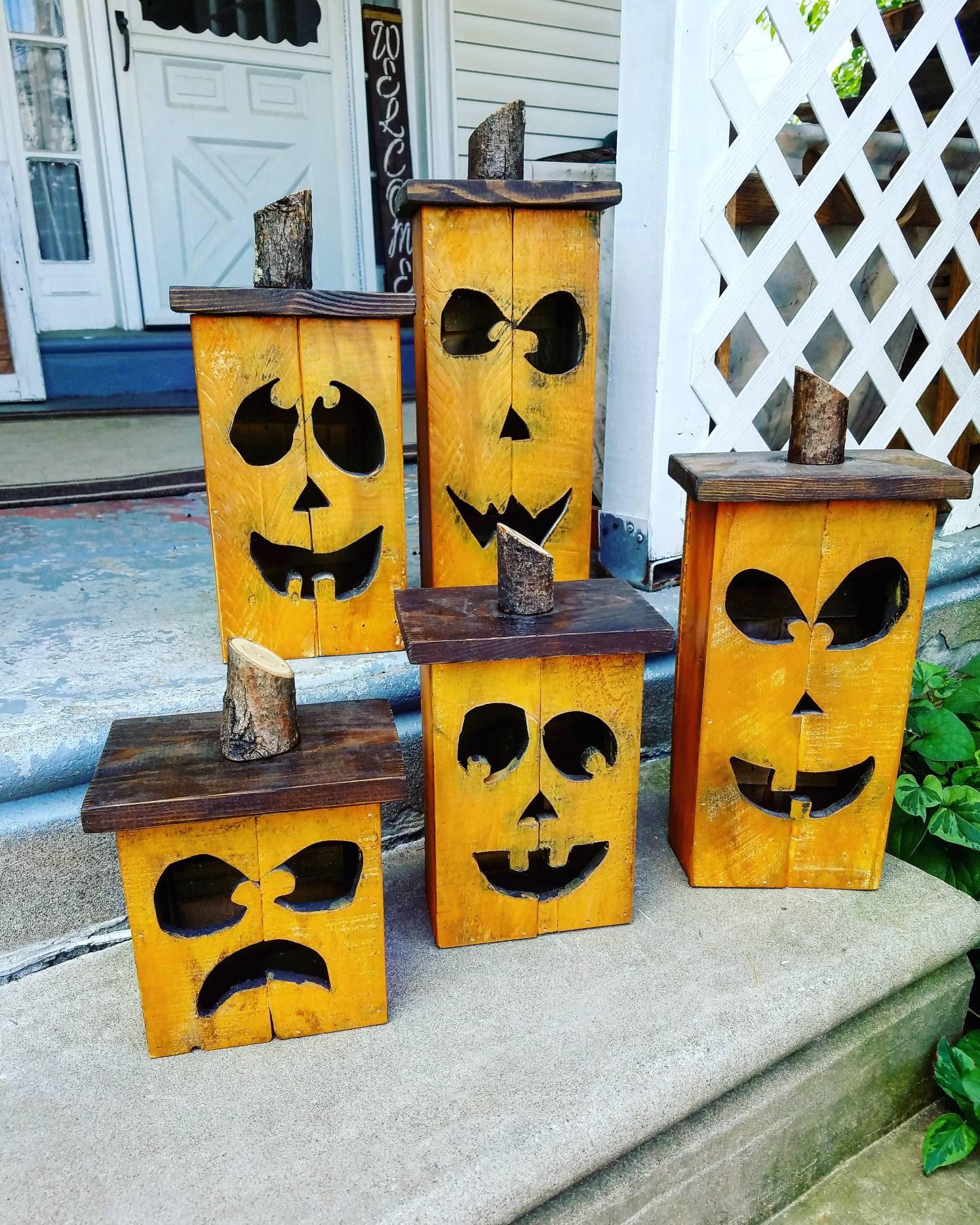 Wooden jack-o-lantern wood pumpkin lantern fall decoration ...