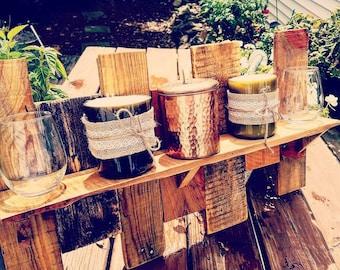 Rustic reclaimed pallet shelf, bathroom shelf, decorative shelf, kitchen rack, weathered mantle, wood shelf, wall shelf, display shelf
