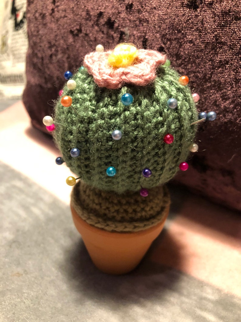 birthday sewing Crocheted pin cushion Cactus desk buddy sewing gifts sewing accessories cupcake pin cushion Gifts for her. handmade