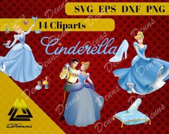 Cinderella Clipart –14 (Svg, Eps, Png, Dxf Files) 300 PPI, Vectorial Cinderella svg, T-Shirt Design, Cinderella Printable , Cinderella kids