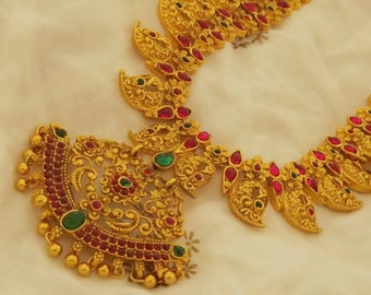 Indian long haram sets |handmade Jewelry long necklace sets | necklace with matching earrings