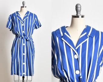Striped dress, short sleeve dress, navy blue dress, day dress, holiday dress, summer dress, sailor dress, sailored dress, knee length dress