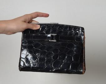 Black evening clutch purse, clutch bag women, black clutch, leather clutch, evening leather bag, vintage black small purse, antique hand bag