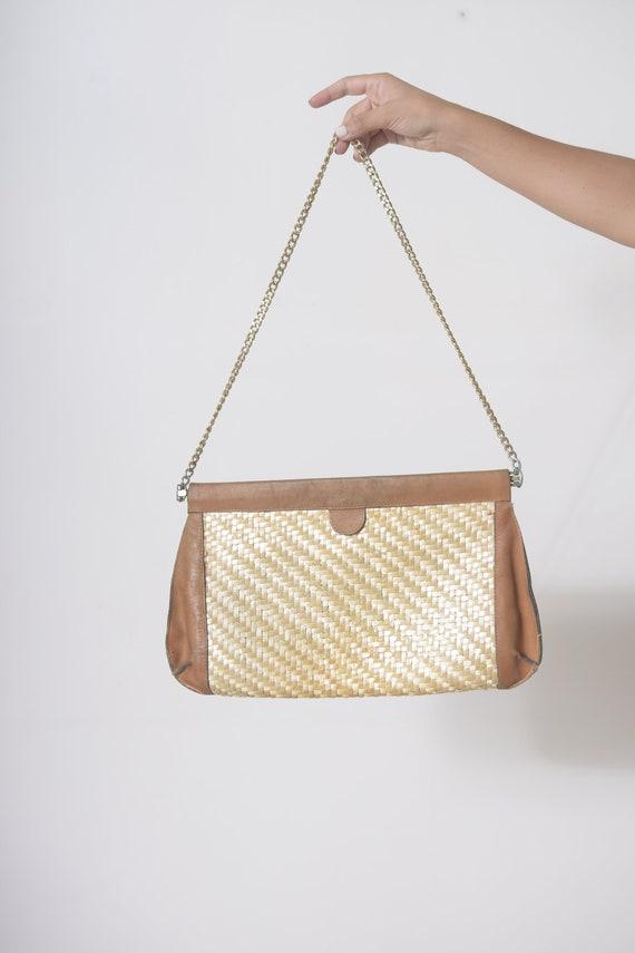 Straw bag, Straw handbag, Straw purse, Leather bag