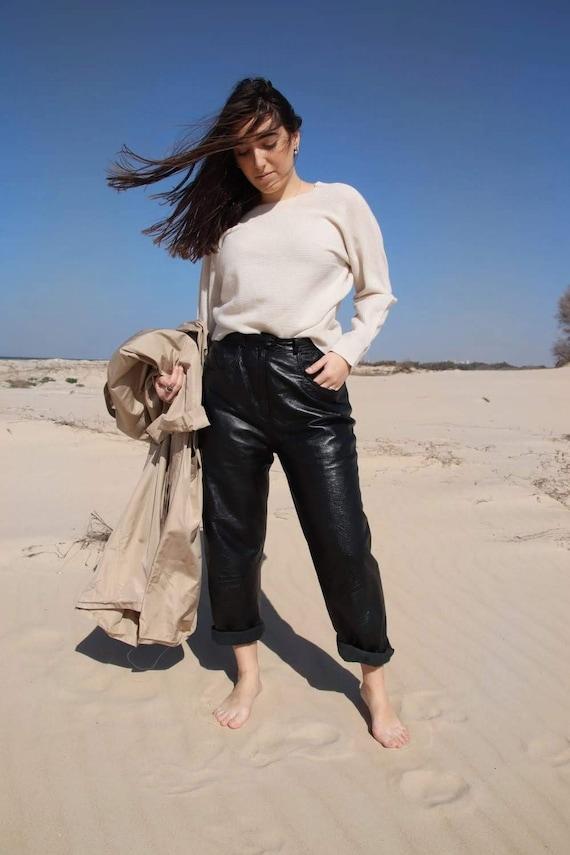 Womens leather pants, Motorbike style, Black pants
