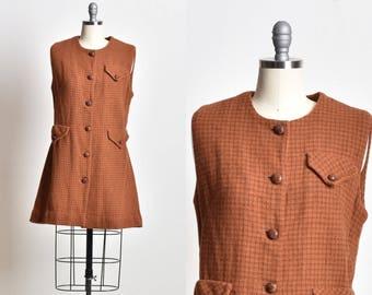 Wool dress, Knitted dress, winter dress, warm dress, woolen dress, brown dress, sleeveless dress, office dress, button down, gift for her