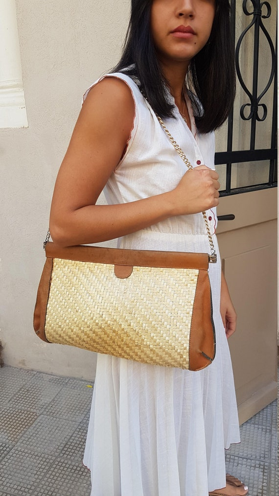 Straw bag, Straw handbag, Straw purse, Leather bag